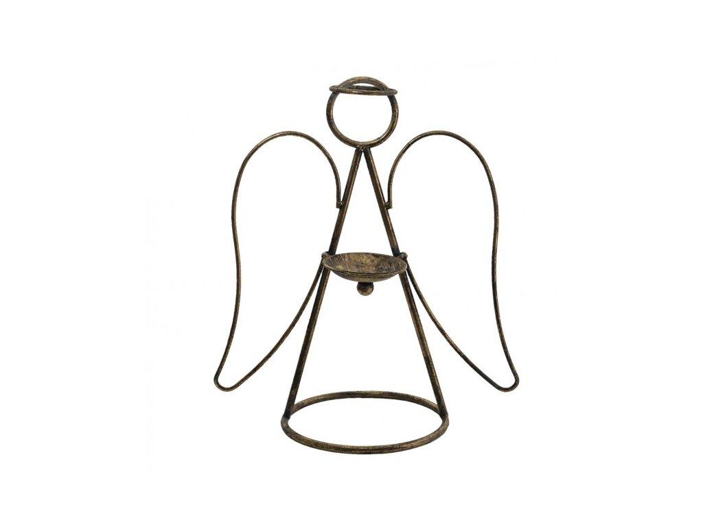 zlaty antik kovovy svicen andel 381833 cm