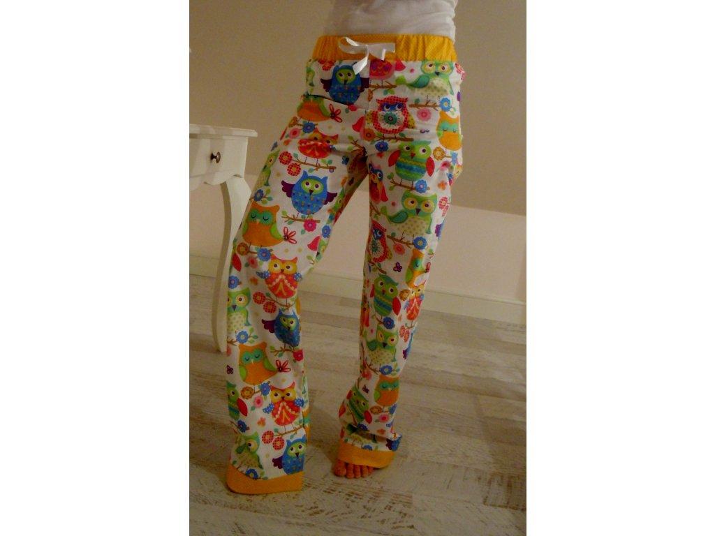 Domácí - pyžamové kalhoty veselé sovičky