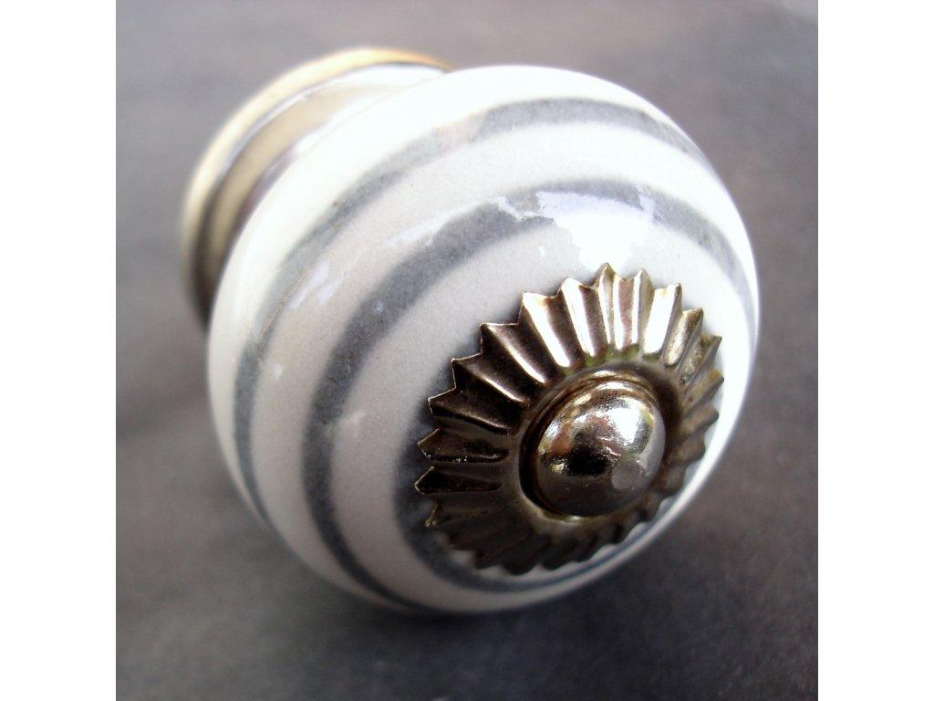 Knopka bílá s šedým proužkem