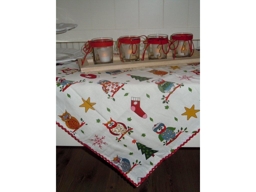 Středový ubrus vánoční sovičky