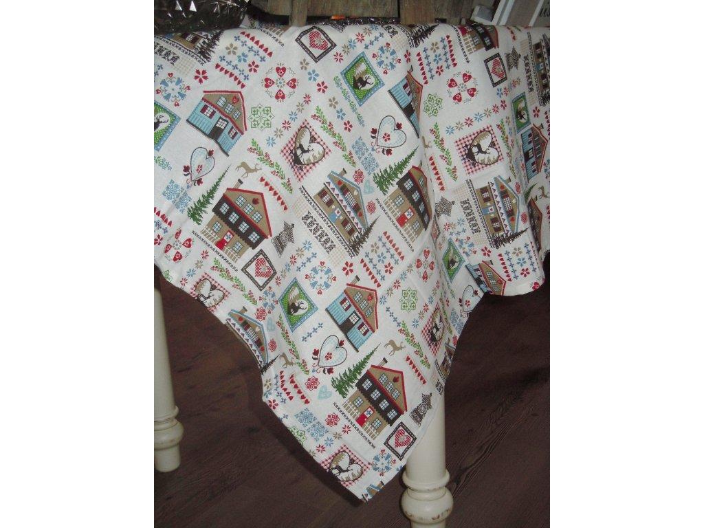 Ubrus vánoční domečky