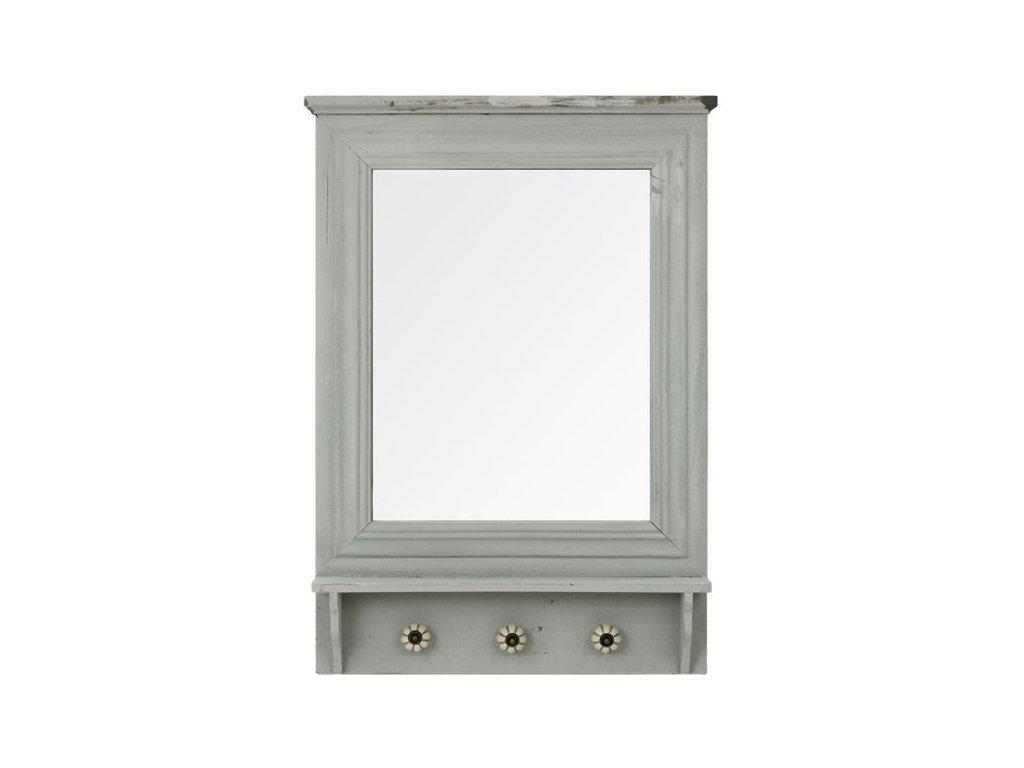 Šedé zrcadlo s poličkou a věšáčky