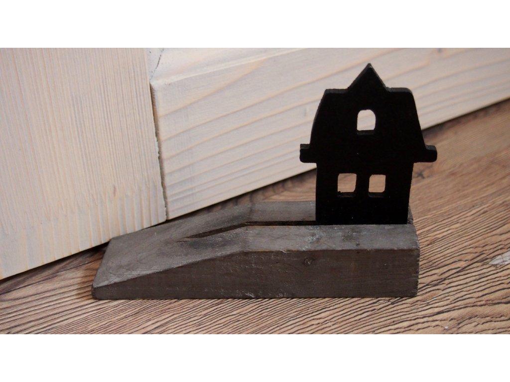 Dřevěná dveřní zarážka s domečkem