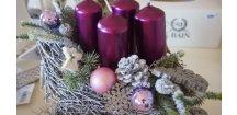 Adventní  stříbrné sáňky do fialova