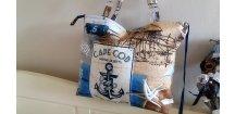 Látková kabelka s námořním motivem, + pozdro na brýle a taštička