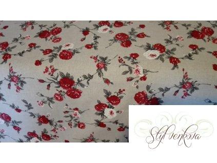 Bílo  červená růže na režné
