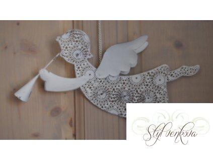 Anděl kovový s ornamenty