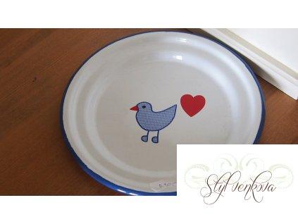 Plechový talířek s ptáčkem