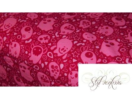 Bavlněný úplet strašidýlka na tmavě růžové