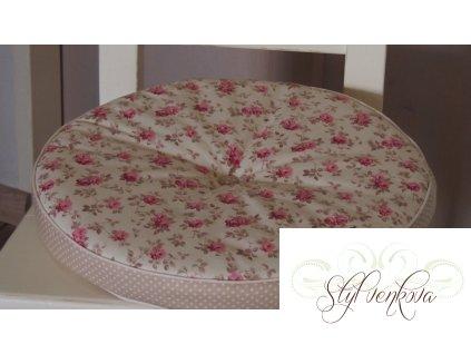 Kulatý sedák růžičky na vanilce + béžový puntíček