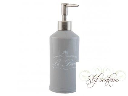 Dávkovač na mýdlo šedý s písmem