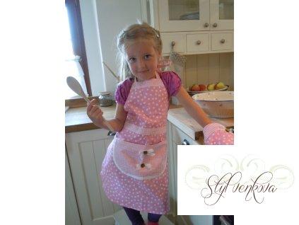 Dětská zástěrka růžový puntík + chňapka