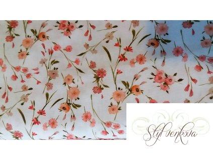 Drobné růžovo-meruňkové kvítky na bílé