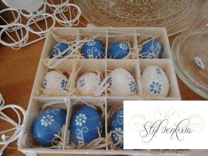 Vajíčka modro-bílá