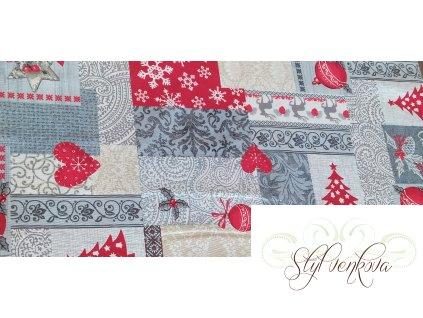 Vánoční patchwork šedo červený