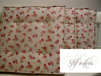 Futonový sedák, matrace - růže na režné