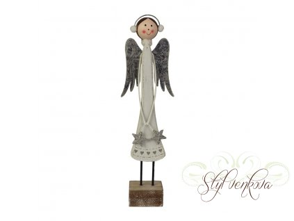 Anděl  bílý na podstavci