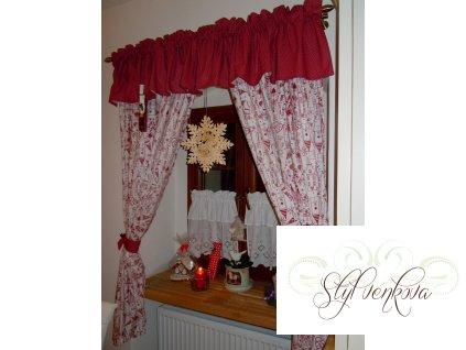 Závěsy vánoční - domečky srdíčka puntíky