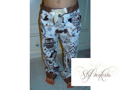 Dětské pyžamové, hrací kalhoty - hnědá sova