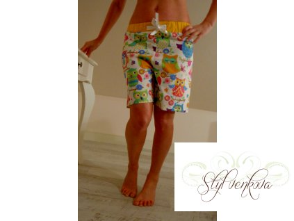 Pyžamové kraťásky - veselé sovičky