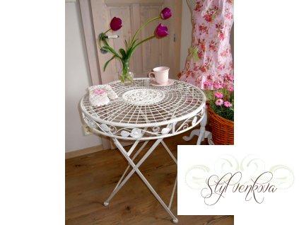 Kovový stolek bílý