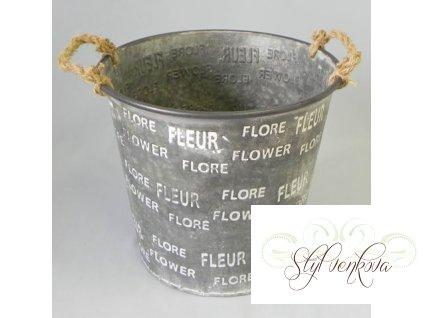 Plechový kbelík s nápisy