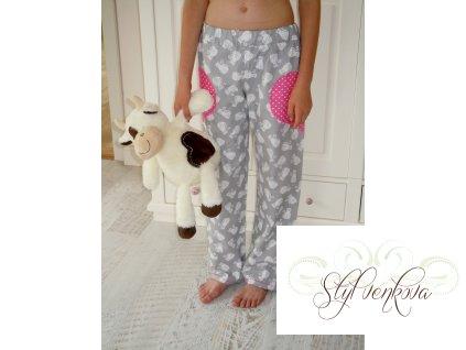 Pyžamové kalhoty kočičí