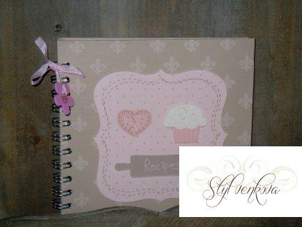 Zápisník na recepty s kytičkou