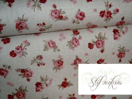 Bordó růžičky na režné