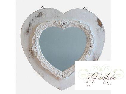 Zrcadlo bílé ve tvaru srdce