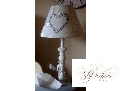 Lampička bílá s dekorem srdce