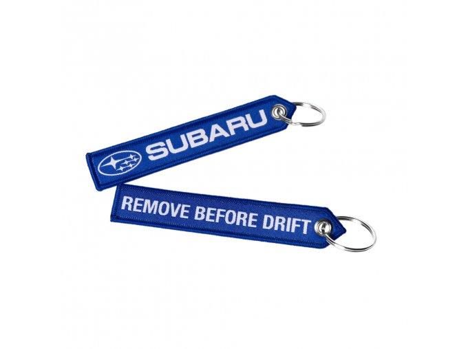 Přívěšek - SUBARU REMOVE BEFORE DRIFT (textilní)
