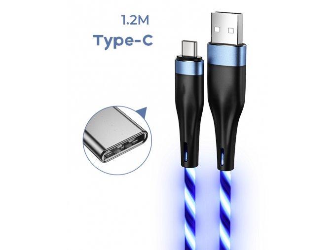 Nabíjecí svítící kabel k telefonu nebo tabletu /USB-C/