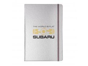Zápisník Subaru THE WORLD IS FLAT - velký stříbrný