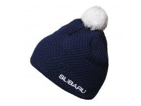 Pletená modrá čepice Subaru