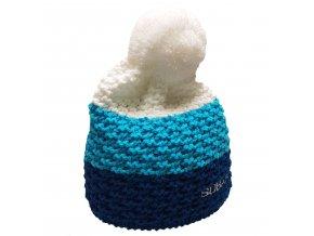 Pletená tříbarevná čepice