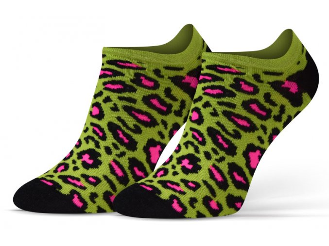 ponozky kotnik leopard zel 1