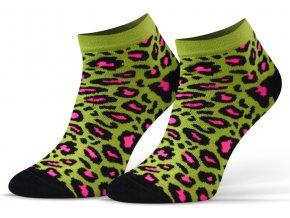 ponozky 34 leopard zel 1