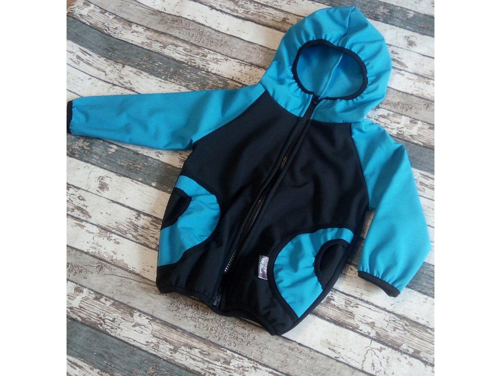 Softshellová bunda Yháček, zimní, modrá/černá