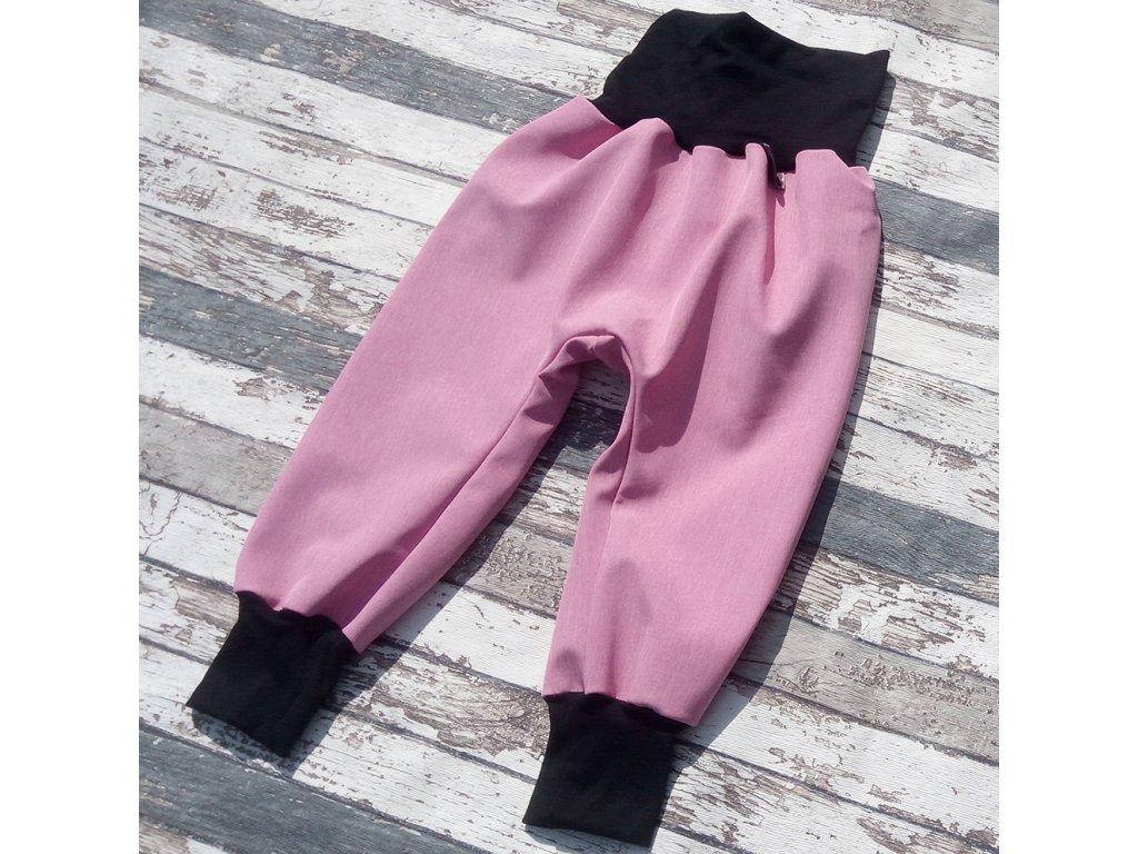 Softshellové kalhoty Yháček, zimní, žíhané, růžová
