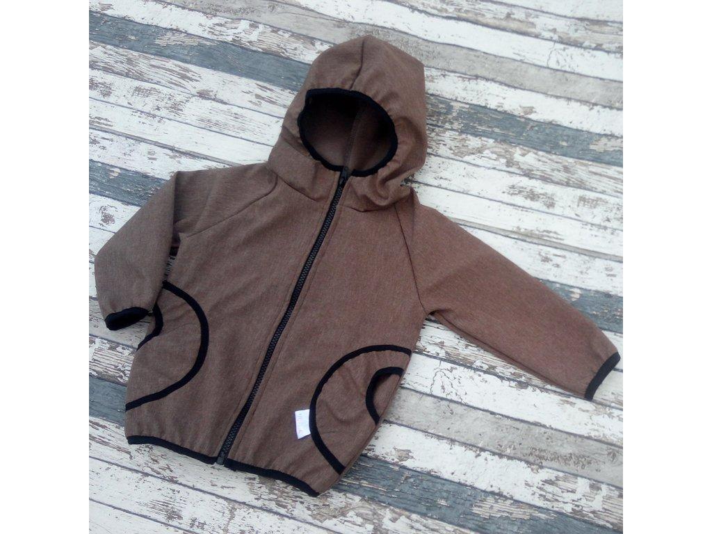 Softshellová bunda Yháček, zimní, žíhaná, hnědá