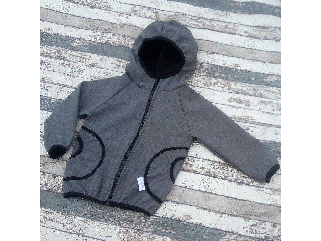 Softshellová bunda Yháček, zimní, žíhaná, šedá