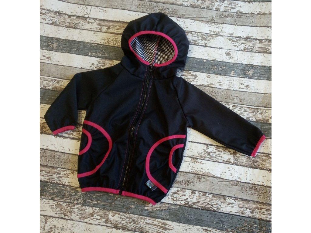 Softshellová bunda Yháček, podzim, černá/růžová