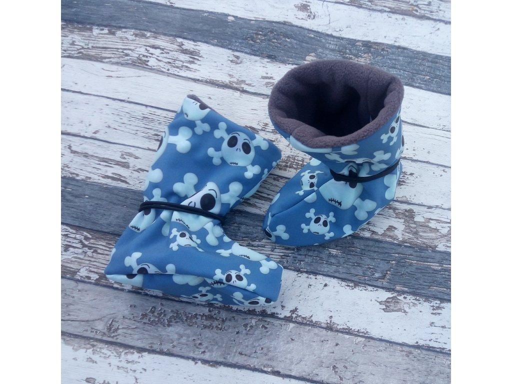 Nosicí botičky - válenky Yháček, flís, lebky na modré