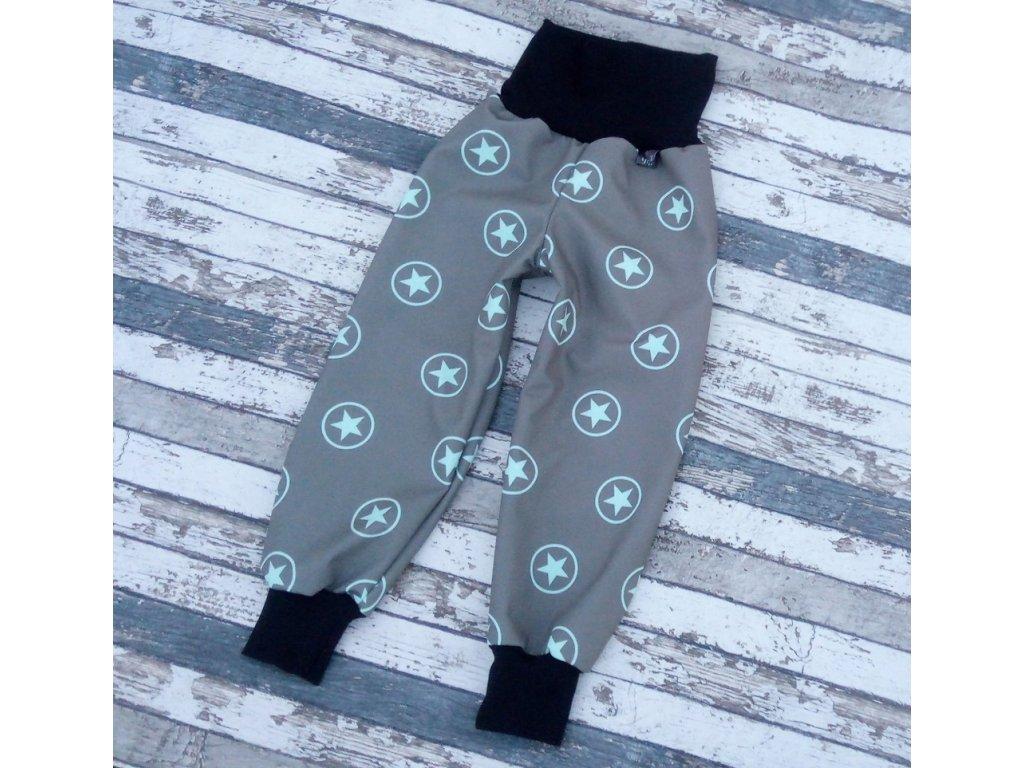 Zimní softshellové kalhoty Yháček, hvězdy mentolové