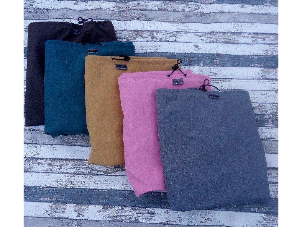 Softshellová kapsa na nošení Yháček, kapucka, růžová žíhaná