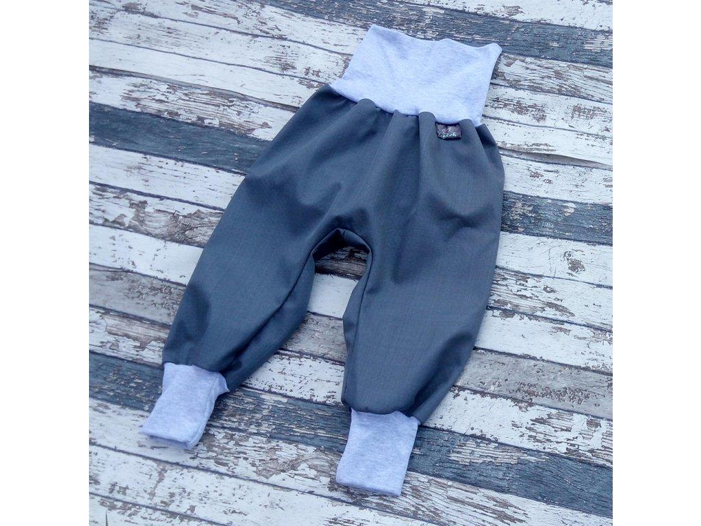 Softshellové kalhoty Yháček, podzim, šedá/šedé melé, doprodej