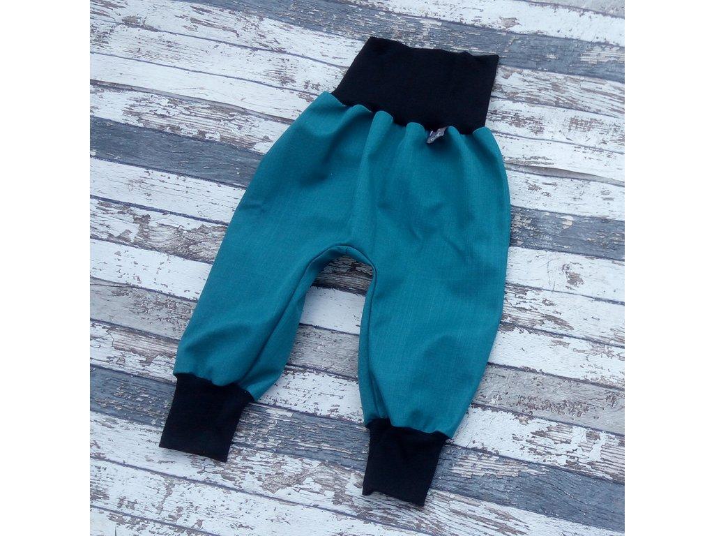 Softshellové kalhoty Yháček, podzim, petrolej/černá