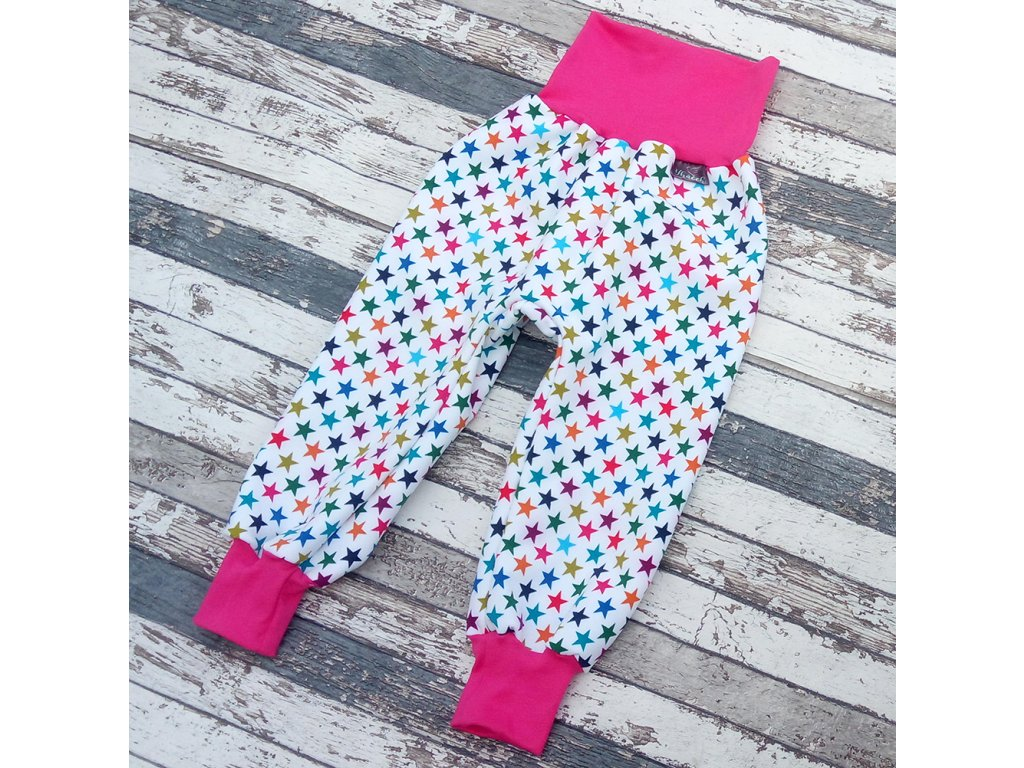 Zimní softshellové kalhotky Yháček, hvězdičky na bílé/růžová