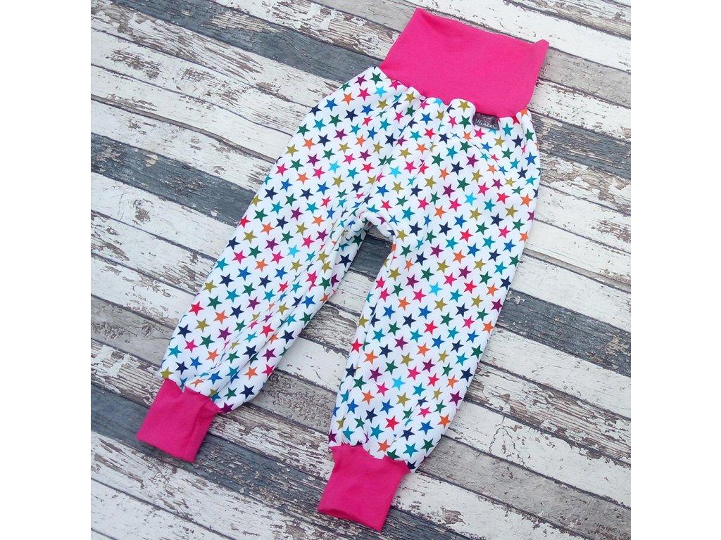 Zimní softshellové kalhoty Yháček, hvězdičky na bílé/růžová